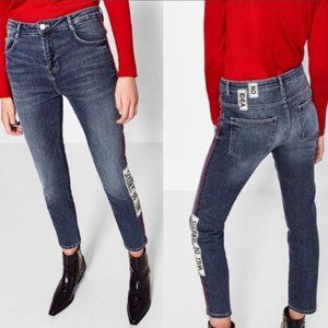 Zara Will Be Serious Slouchy Patched Jeans Sz 6